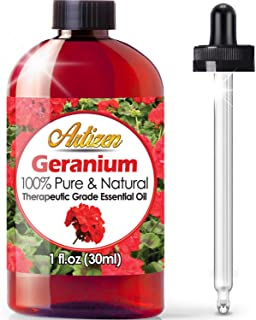 Artizen Geranium Essential Oil (100% Pure & Natural - UNDILUTED) Therapeutic Grade - Huge 1oz Bottle - Perfect for Aromath...