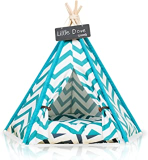little dove Pet Teepee Dog(Puppy) & Cat Bed - Portable Pet Tents & Houses for Dog(Puppy) & Cat Blue Strip Style (with or Without Optional Cushion)