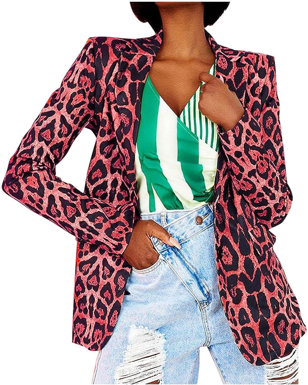 A2A Womens Casual Blazers Open Front Long Sleeve Work Office Jackets Blazer Leopard Print Button Lapel Slim Cardigan Coat