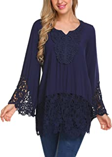Women's Casual Tops Lace Splice Flare Sleeve Flowy Loose Peplum Boho Blouse T-Shirt Tops S-XXL
