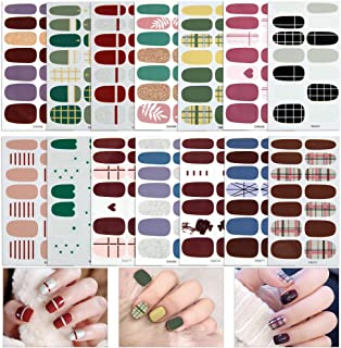 14 Sheets Full Wraps Nail Polish Stickers,Self-Adhesive Nail Art Decals Strips Manicure Kits Nail Art Designs for Women Girls