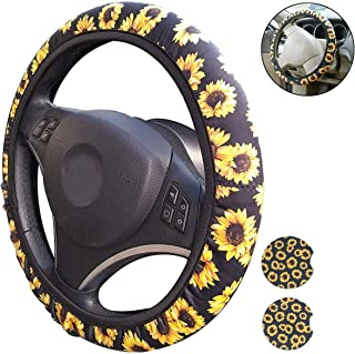 Sunflower Steering Wheel Cover and Small Car Coasters