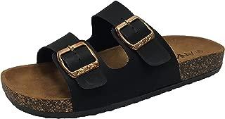 ANNA Womens Light Weight Cork Platform Double Buckles Slide Sandal