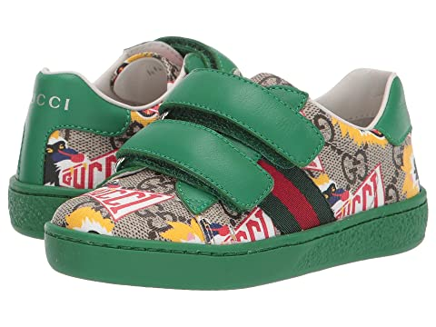 63a33969865 Gucci Kids GG Supreme Double Strap Sneaker (Toddler) at Luxury ...