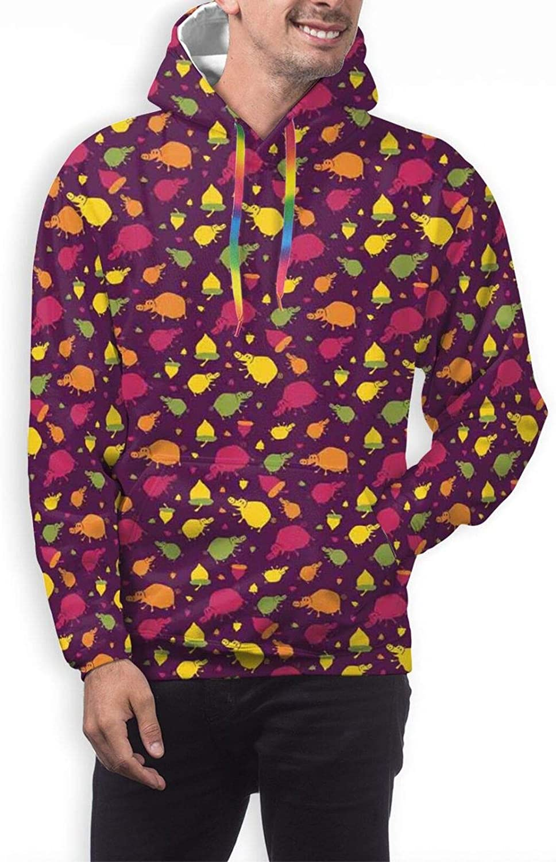 Men's Hoodies Sweatshirts,Childish Pattern with Galaxy Elements On Cartoon Bears and Dot Swirls in Blue Shades