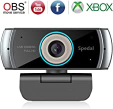 Full HD 1080P/30fps Webcam with Built-in Dual Analog Microphones, 100° Extend Angle Spedal Computer Gaming Streaming Web Cam for OBS Xbox XSplit Skype Facebook, Compatible for Mac OS Windows 10/8/7