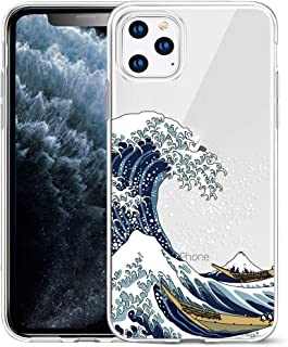 Unov Clear with Design for iPhone 11 Pro Case Slim Protective Soft TPU Bumper Embossed Pattern Cover 5.8 Inch (Great Wave)
