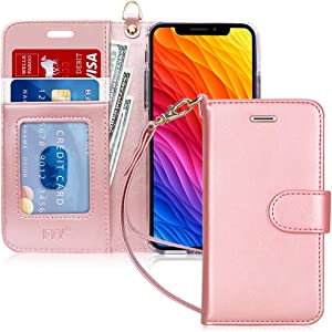 """FYY Wallet Case for iPhone X/10/Xs 5.8"""", [Kickstand Feature] Luxury PU Leather Flip Phone Case Protective Cover with [Card Holder][Wrist Strap] for iPhone X/10 2017/iPhone Xs 2018 5.8"""