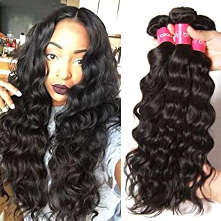 Dinoce Compatible with Longqi 10a Unprocessed Brazilian Virgin Hair Natural Wave 3 Bundles Wet and Wavy 100% Remy Human Hair Bundles 300g (20 22 24 Inch, Natural Color)