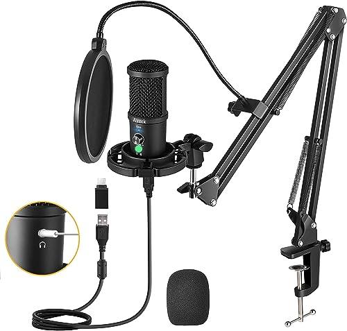 Aveek Microphone de USB à Condensateur pour PC, PS4,Mac et Téléphone, avec Muet et Suppression du Brui,Polaire cardio...