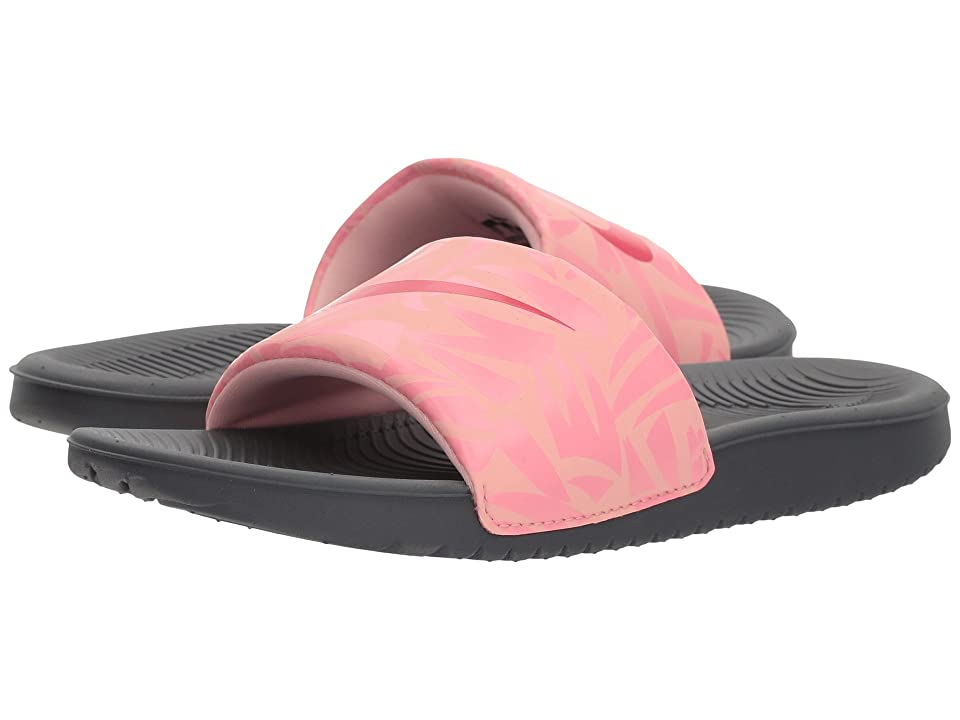 Nike Kids Slide Print (Little Kid/Big Kid) (Dark Grey/Tropical Pink/Coral Chalk) Girls Shoes