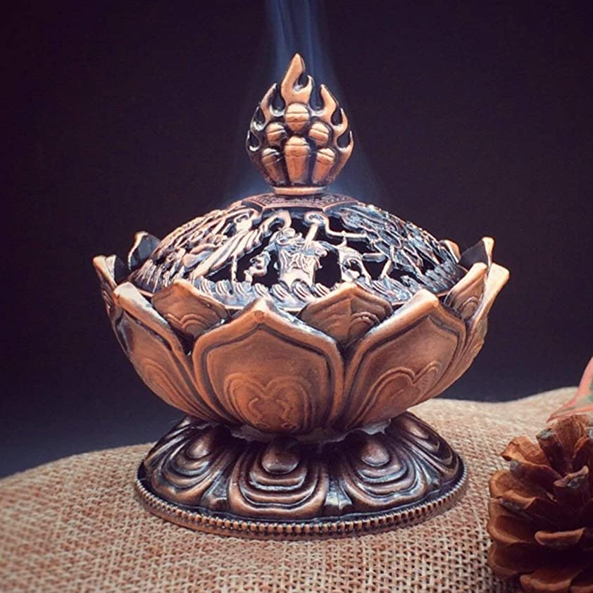考古学寛容ふりをするHoly Tibetan Lotus Designed Incense Burner Zinc Alloy Bronze Mini Incense Burner Incensory Metal Craft Home Decor