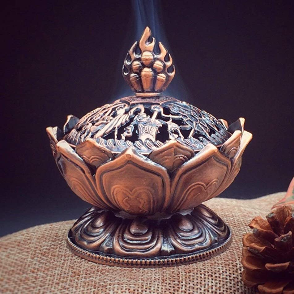 ただ消えるスズメバチHoly Tibetan Lotus Designed Incense Burner Zinc Alloy Bronze Mini Incense Burner Incensory Metal Craft Home Decor