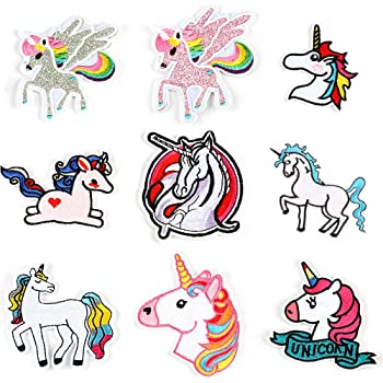 LAKIND 9-PACK Unicornio Arco Parches bordados para planchar o ...