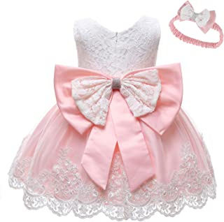 AIMJCHLD Baby Girls Formal Dresses Infant Bowknot Embroidery Tutu Lace Christening Baptism Gown Dress