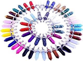 24pcs Crystal Stone Healing Pointed Chakra Pendants Hexagonal Gemstones Quartz Bullet Shape DIY Charm Beads Random Assorte...