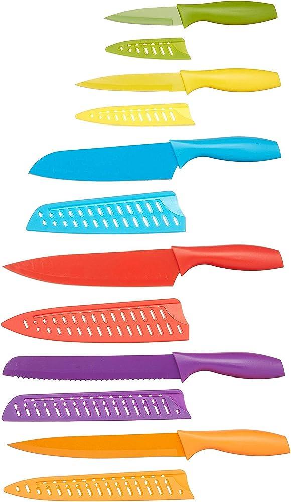 Amazon basics - set di coltelli colorati, 12 pezzi , in acciaio inossidabile 0183-12PACK