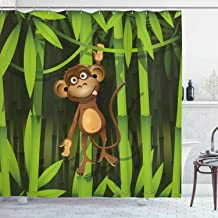Ambesonne Jungle Shower Curtain, Wildlife Theme with Illustration of a Monkey in The Jungle Print, Cloth Fabric Bathroom Decor Set with Hooks, 84 Long Extra, Brown Green