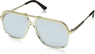 Gucci GG 0200 S- 005 YELLOW / LIGHT BLUE GOLD Sunglasses