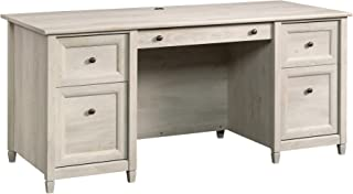 "Sauder Edge Water Executive Desk, L: 65.12"" x W: 29.53"" x H: 29.37"", Chalked Chestnut finish"