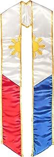 Phillipines Flag Graduation Sash Stole Filipino Heritage - Embroidered - Adult Unisex - Made in USA