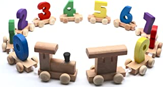 Wooden Shape Train | Wooden Train with Numbers | Fine Motor Skills, Hand-Eye Coordination Toys for Kids | Learning Shape, Number, Counting and Color | Set of 12 Pcs | 3 & Above Years Boy Girl