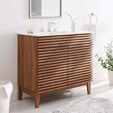 Modway Render 48 Single Bathroom Vanity In Walnut White Amazon Com