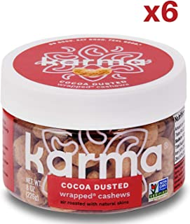Karma Nuts Cocoa Dusted Cashews | 6, 8 Ounce Reusable Jars | Whole, Roasted, Wrapped, Vegan, Non Gmo, Gluten Free, Low Carb, Low Calorie, Natural, Healthy, Everyday Snack