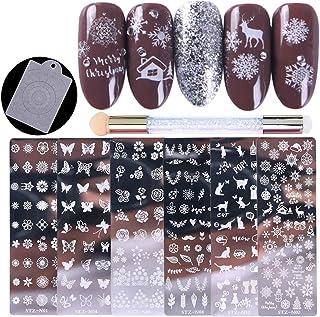 Tingbeauty - Juego de 6 platos de estampado de uñas, plantilla para decoración de uñas, diseño de flores, placa de imagen ...
