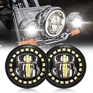 4.5 Inch Harley Fog Light Daymaker Passing Auxiliary CREE Led Spot Lamp Compatible with Harley Davidson 4-1/2 Inch Round Spot Lights - DOT Compliant