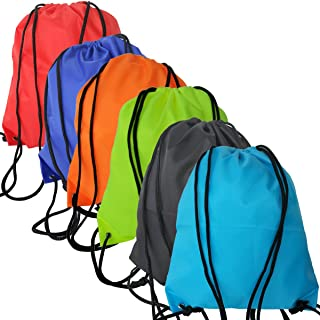 6 Pack Drawstring Backpack Bags 420D polyester fabric Folding Cinch Bag bags