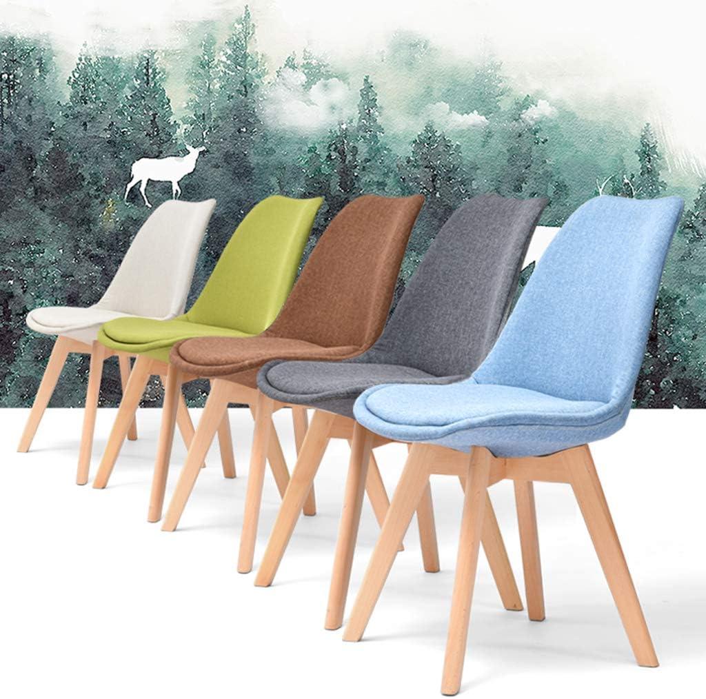 Chaise de Bureau Comptoir de Cuisine Salon Salon Chaises Fauteuil de Baignoire Fauteuil Pieds en Bois Massif Naturel avec Coussins rembourrés/Chargement 150KG / Hauteur: 83cm A