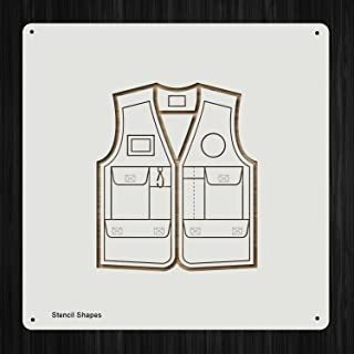 Vest Fishing Jacket Coat Clothing Plastic Mylar Stencil for Painting, Walls and Crafts, Item 418946