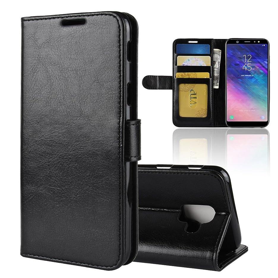 立場葬儀控えるMeetJP Samsung Galaxy A6 (2018) 財布 レザー シェル ?と 保護 耐久性のある 保護 ケース フォリオ フリップ 電話 カバー バッグ ?と カード スロットs,現金 ポケット,Black