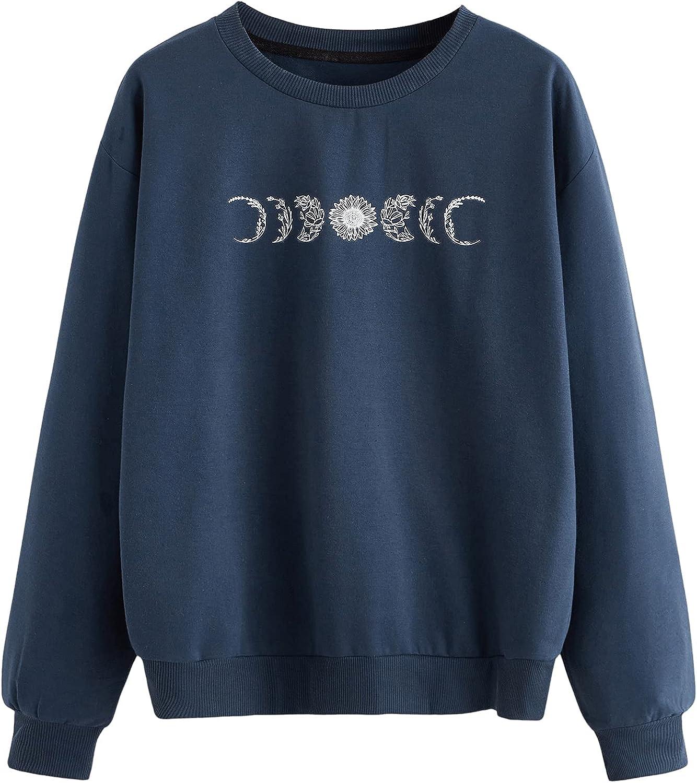 SweatyRocks Women's Casual Long Sleeve Graphic Print Sweatshirt Pullover Tops