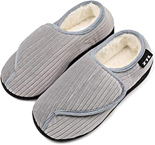 Women's Furry Diabetic Slippers Memory Foam Comfy Warm Plush Fleece Adjustable Strap House Shoes Relief for Edema, Swollen Feet, Arthritis