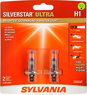 SYLVANIA - H1 SilverStar Ultra - High Performance Halogen Headlight Bulb, High Beam, Low Beam and Fog Replacement Bulb, Brightest Downroad with Whiter Light, Tri-Band Technology (Contains 2 Bulbs)