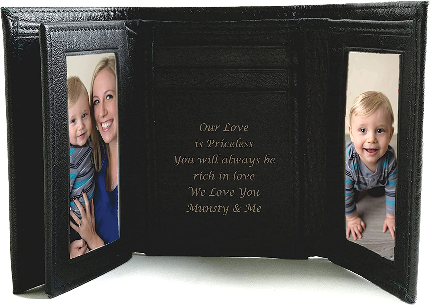Personalized Black Leather Tri-fold Wallet Engraved Free - Ships from USA 1600