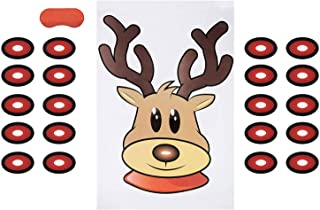 Pin the Nose on the Reindeer Game - 2-Pack Christmas Party Fun Game Supplies, Holiday Festive Gifts Favors for Kids and Adults, Santa's Reindeer Design, 2 Posters, 30 Nose Stickers, 1 Blindfold