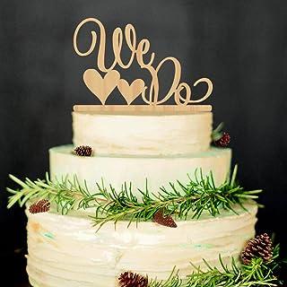 ROSENICE Wedding Cake Topper WE DO Wood Wedding Cake Decorations(Wood colour)