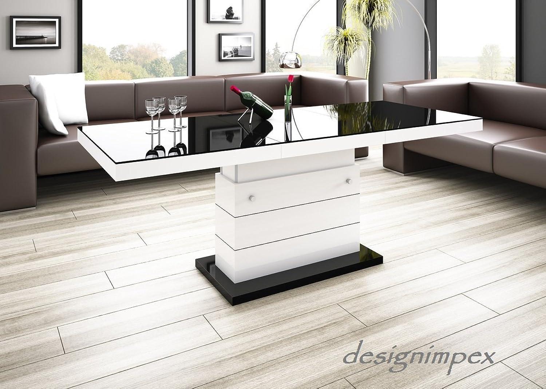 Design Couchtisch Matera Lux H-333 Schwarz Wei Hochglanz hhenverstellbar ausziehbar Wohnzimmertisch