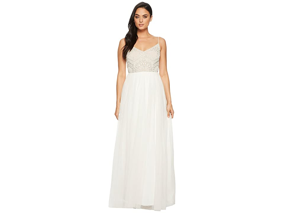 Adrianna Papell Beaded Bridal Dress (Ivory/Nude) Women