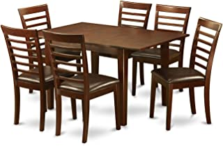 MILA7-MAH-LC 7 Pc small Kitchen Table set-small Kitchen Table and 6 Dining Chairs