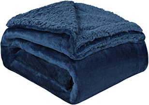 "uxcell Sherpa Fleece Blanket Reversible Plush Flannel Throw Blanket Fuzzy Soft Microfiber Blanket for Sofa Couch or Bed, Navy Blue-Navy Blue Reverse Twin-59"" x 78"""