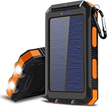 Solar Charger, 20000 mAh Portable Solar Power Bank for Cell Phone Camping External Backup Battery USB Chargers Built-in Dual USB Port/LED Flashlights for All Smartphone, Tablets, Electronic Devices