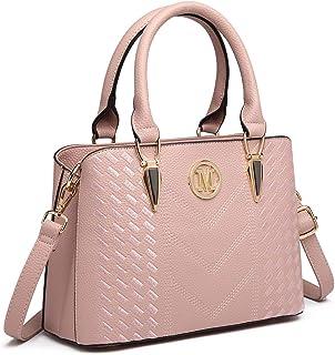 Miss Lulu Women Top Handle Bag Woven pattern and Chevron Shoulder Bag Front M Logo Handbags (6865 Pink)