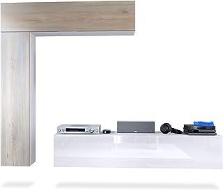 Mueble de Pared Taurito Cuerpo en Blanco Mate/frentes en Blanco de Alto Brillo y Roble nórdico