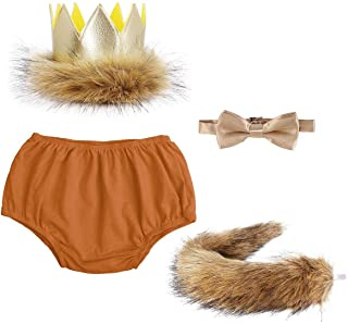 FYMNSI Baby Boys Lion 1st/2nd Birthday Cake Smash Outfits Wild One Shorts + Bowtie + Tail + Crown Party Photography Costume