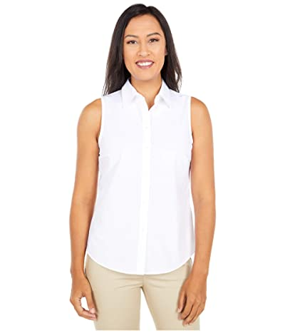 LAUREN Ralph Lauren Petite Easy Care Cotton Blend Shirt (White) Women