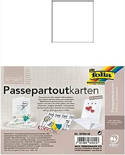 folia 8769/10–Passepartout Cards Square Aperture–Pack of 10White